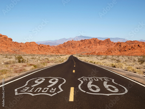 Poster Route 66 Pavement Sign with Red Rock Mountains