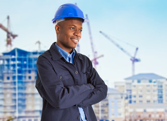 Smiling black worker