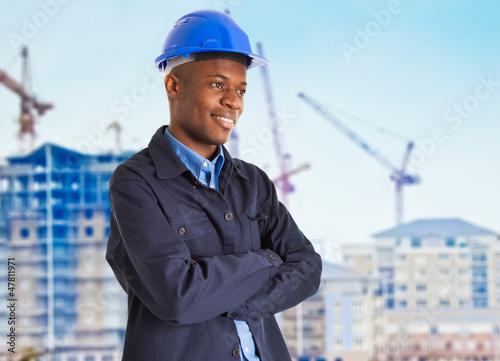 Smiling black worker