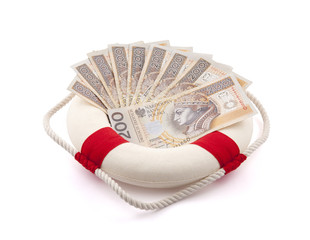 Polish money in lifebuoy with clipping path