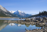 Beautiful Maligne lake with low water poster