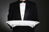 Waiter with Large White Tray