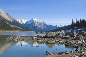 Beautiful Maligne lake with low water