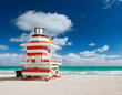 Miami Beach Florida, colorful lifeguard house