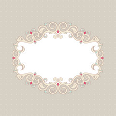 Beautiful floral frame on a beige background