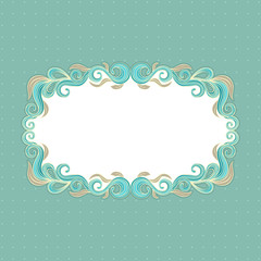 Beautiful floral frame on a turquoise background