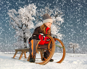girl on a sleigh
