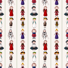 seamless medieval people pattern