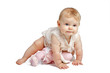 Cute baby crawling in sleeveless sundress