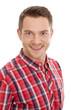 Gesicht Mann mit rot kariertem Hemd