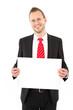 Geschäftsmann mit Schild in der Hand