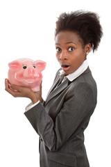 Afrikanerin mit Sparschwein