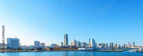 Leinwandbild Motiv Panoramic view of Minato-Mirai skyline over Yokohama harbor