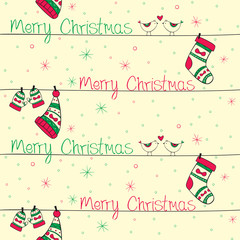 Christmas seamless pattern with red green birds socks mittens an