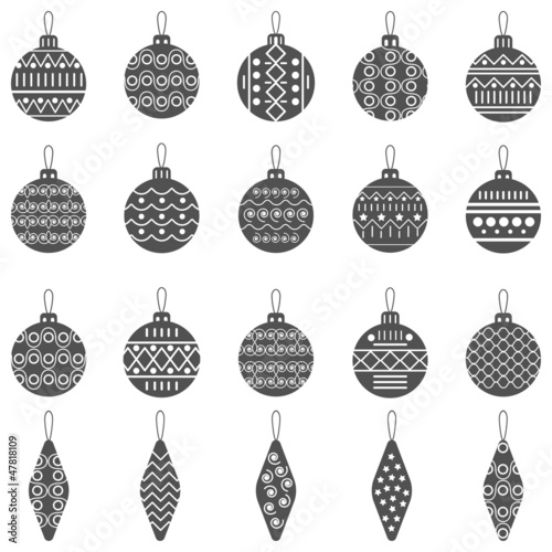 Christmas balls icons collection