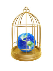 golden birdcage and earth