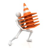 3d man carries stack of heavy traffic cones