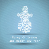 blue merry christmas typographic text poster