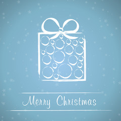 blue christmas frame with circle gift