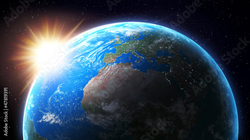Sun setting over Earth