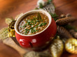 traditional christmas lentils soup, selective focus