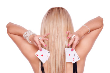 Blonde with poker