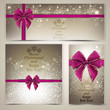 Greeting cards with beautiful bows and copy space. Vector illust
