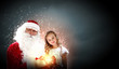 portrait of santa claus with a girl