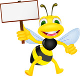 Bee with blank sign - 47820717