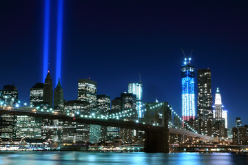 Brooklyn Brigde and the Towers of Lights , New York City