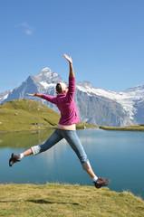 Girl against Alpine scenery. Switzerland