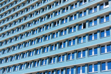 Blue building in former GDR Berlin