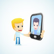 set of illustrations with funny cartoon casual character in