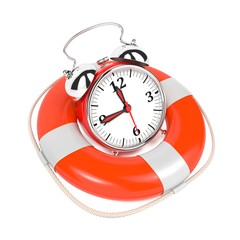 Alarmclock in Lifebuoy on White Background.