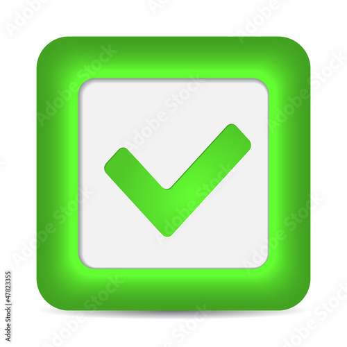 Green glossy web button with check mark sign.