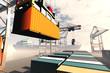 Leinwandbild Motiv Industrial Port sunset sunrise 3D render