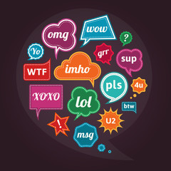 Collection of acronyms and abbreviations colorful speech bubbles