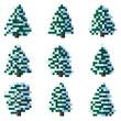 Set of pixel winter snowy tree.