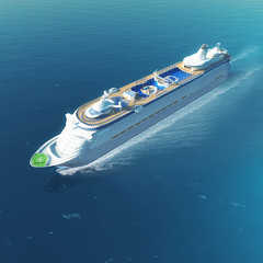 Cruise ship with heliport and pools sailing on the sea