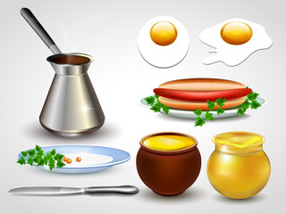 Set of kitchen utensils. Vector illustration.