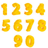 Fototapety Cheese  decorative numbers,  vector illustration