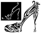 elegant shoe and sandal stylized illustration