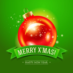 Christmas card with red bauble and inscription on a green ribbon