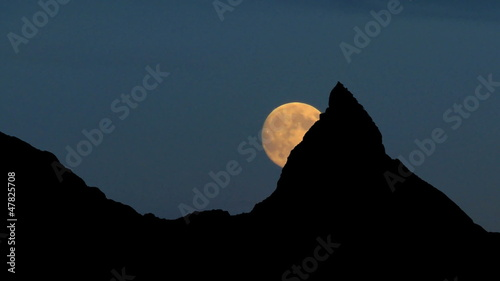 Switzerland Zermatt mountain peak moonrise