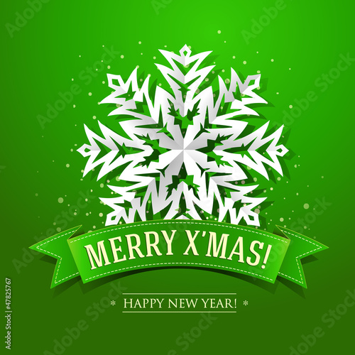 Christmas card with paper snowflake and inscription on a green