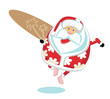 Cartoon  Santa surfer