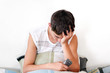 Sorrowful Teenager get SMS