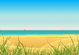 Fototapety Summer Beach With Sailboat Postcard Background