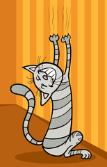 cat scratching wall cartoon illustration