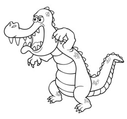 illustration of Cartoon crocodile - Coloring book